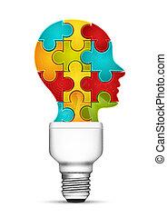 Idea - Abstract concept with human head as a bulb.