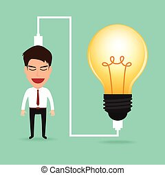 idea, addebitare, uomo affari, lightbulb.