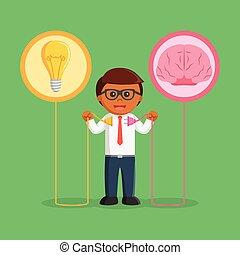 idea affari, creativo, collegare, uomo africano
