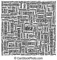 Idea and business in word tag cloud