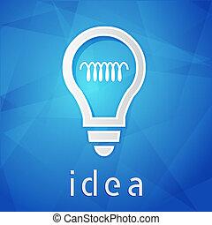 idea and light bulb sign over blue background, flat design