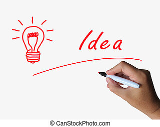 Idea and Lightbulb Indicate Bright Ideas and Concepts