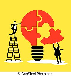 idea and Teamwork concept - business men with light bulb and jigsaw puzzle