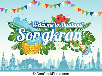 Idea art decorative of Song kran day famous festival of ...