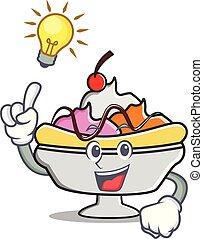 Idea banana split mascot cartoon vector illustration