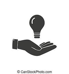 idea., begrepp, lök, hand., lätt