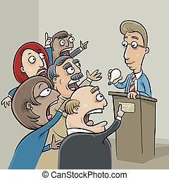 Idea Bidding - A group of business people bid on a lightbulb...