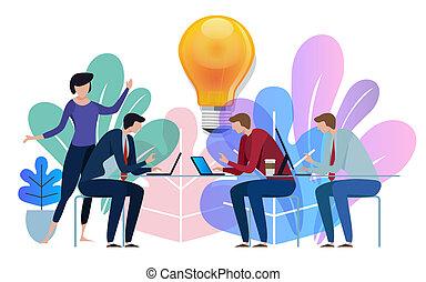Idea big bulb above. Business team working talking together at big conference desk. Illustration on white background.