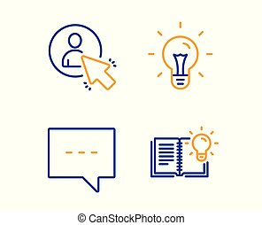 Idea, Blog and User icons set. Product knowledge sign. Light bulb, Chat message, Project manager. Vector