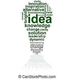 Idea bubble - Concept illustration showing a light bulb made...