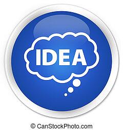 Idea bubble icon blue glossy round button