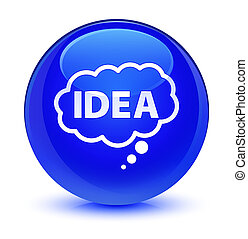 Idea bubble icon glassy blue round button
