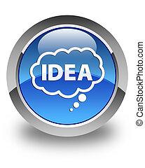 Idea bubble icon glossy blue round button
