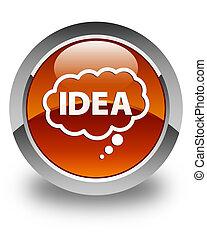 Idea bubble icon glossy brown round button