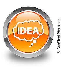 Idea bubble icon glossy orange round button