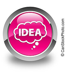 Idea bubble icon glossy pink round button