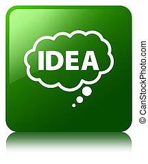 Idea bubble icon green square button