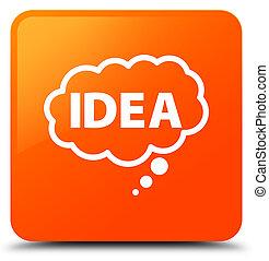 Idea bubble icon orange square button