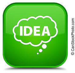 Idea bubble icon special green square button