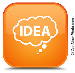 Idea bubble icon special orange square button