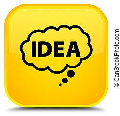 Idea bubble icon special yellow square button