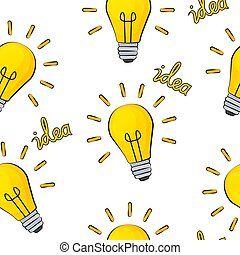 Idea Bulb Flat Design Icon Seamless Pattern Background. Vector Illustration