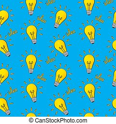 Idea Bulb Flat Design Icon Seamless Pattern Background. Vector Illustration