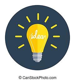 Idea Bulb Flat Design Icon. Vector Illustration
