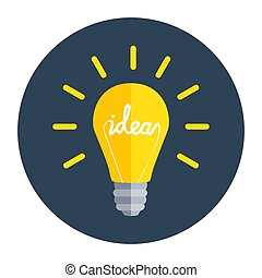 Idea Bulb Flat Design Icon. Vector Illustration