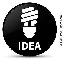 Idea (bulb icon) black round button