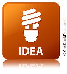 Idea (bulb icon) brown square button