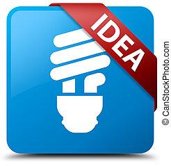 Idea (bulb icon) cyan blue square button red ribbon in corner
