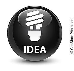 Idea (bulb icon) glassy black round button