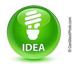 Idea (bulb icon) glassy green round button