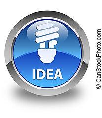 Idea (bulb icon) glossy blue round button