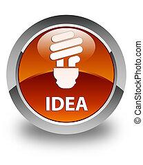 Idea (bulb icon) glossy brown round button