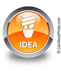 Idea (bulb icon) glossy orange round button