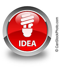 Idea (bulb icon) glossy red round button