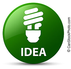 Idea (bulb icon) green round button