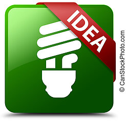Idea (bulb icon) green square button red ribbon in corner