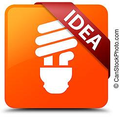 Idea (bulb icon) orange square button red ribbon in corner