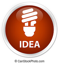 Idea (bulb icon) premium brown round button