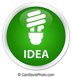 Idea (bulb icon) premium green round button
