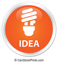 Idea (bulb icon) premium orange round button