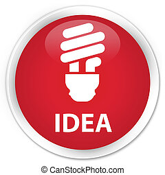 Idea (bulb icon) premium red round button