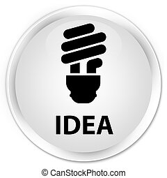 Idea (bulb icon) premium white round button