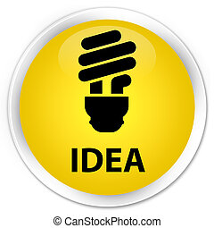 Idea (bulb icon) premium yellow round button