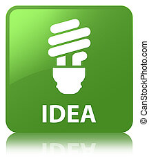 Idea (bulb icon) soft green square button