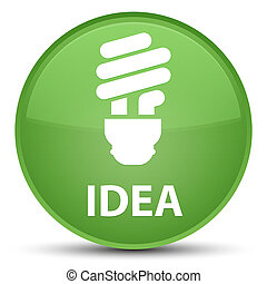 Idea (bulb icon) special soft green round button