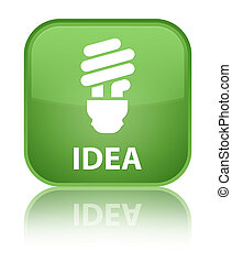 Idea (bulb icon) special soft green square button
